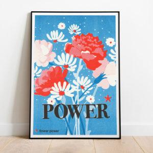 Pied de poule - Affiches Mots doux - Flower power