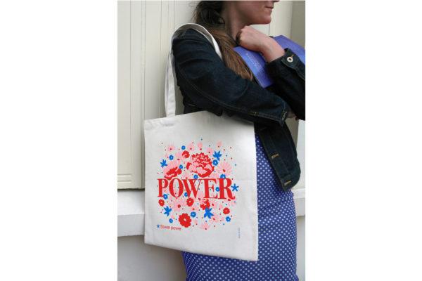 Pied de poule - Tote bag Mots doux - Flower Power